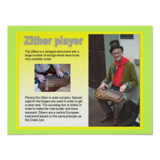 Music, instruments, Zither player Poster