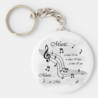 Music Is Me Basic Round Button Key Ring