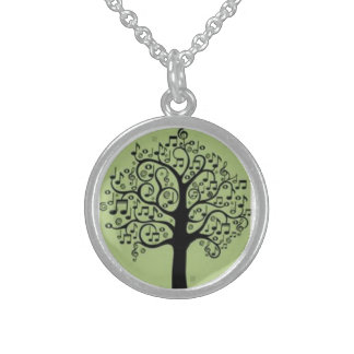 Music Tree Green Sterling Silver Round Necklace