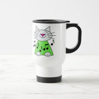 Musical Cat Green Stainless Steel Travel Mug