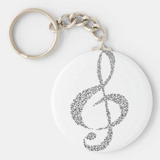 Musical Notes Design Basic Round Button Key Ring
