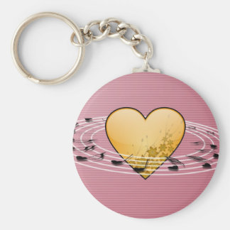 Musical Notes with Heart Design Basic Round Button Key Ring