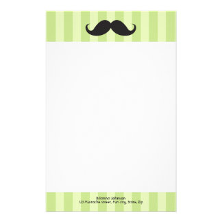 Mustache and green stripes personalized stationery