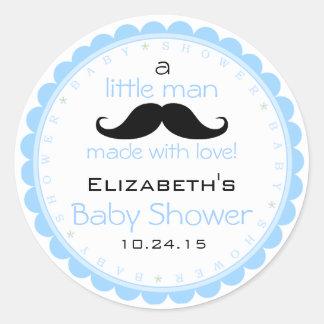 Mustache Blue Baby Shower Round Sticker