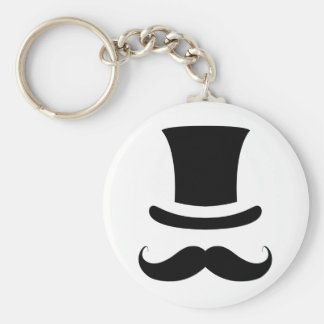 Mustache / Moustache Top Hat Basic Round Button Key Ring