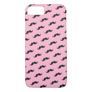 Mustache mustaches funny pink black iPhone 7 case