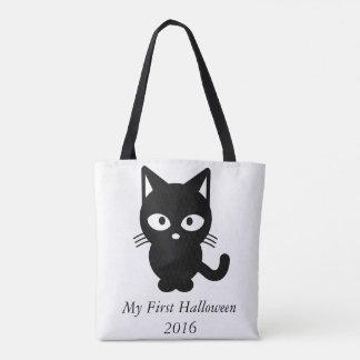 My first Halloween 2016 Cute cat kitty pumpkin bag Tote Bag