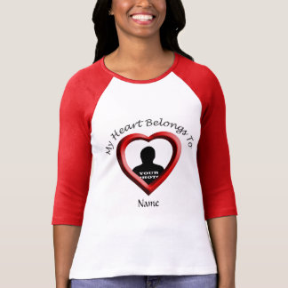 My Heart Belongs To Photo Frame Ladies Raglan T-shirt