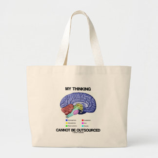 My Thinking Cannot Be Outsourced (Brain Anatomy) Jumbo Tote Bag