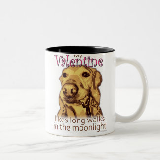 My Valentine Likes Long Walks - for dog lovers Two-Tone Mug