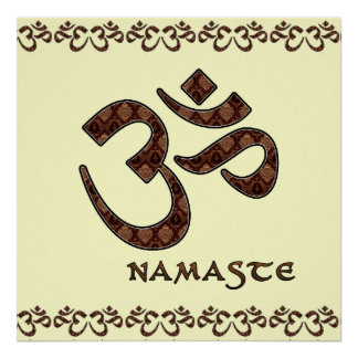 Namaste with Om Symbol Brown and Cream Poster
