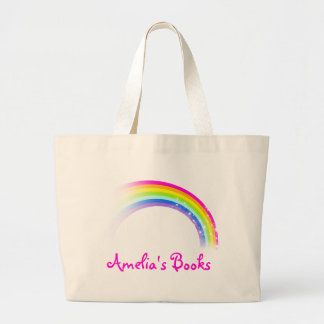 Named rainbow pink library tote bag