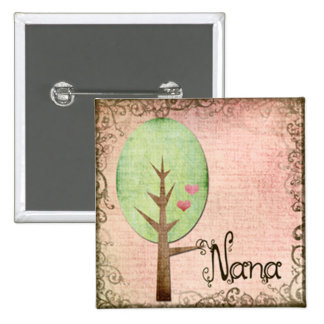 nana heart tree pink 15 cm square badge