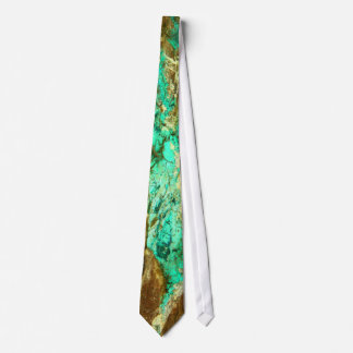 Natural turquoise vein in rough brown stone tie