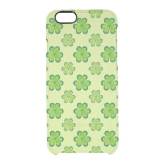 Nature Stylish Green Lucky Shamrock Clover Pattern Clear iPhone 6/6S Case