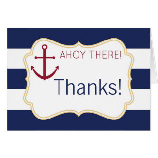 Nautical Ahoy There Baby Shower Thank You Card