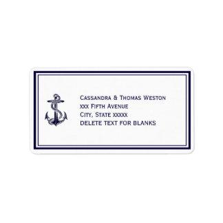 Nautical Anchor Navy Blu Framed 2LJ Address Address Label