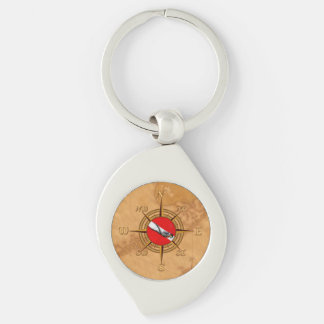 Nautical Dive Compass Silver-Colored Swirl Key Ring