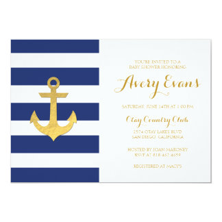 Nautical Navy Stripe Baby Shower with Gold Anchor 13 Cm X 18 Cm Invitation Card
