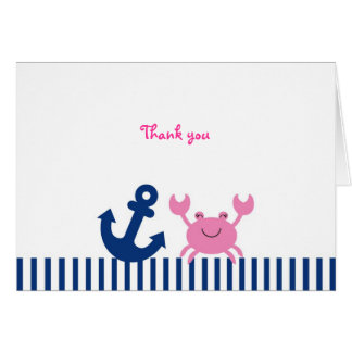 Nautical Pink Crab Thank You Note Cards