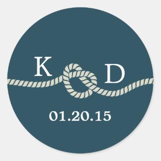 Nautical Rope Knot Blue Wedding Seal Round Sticker