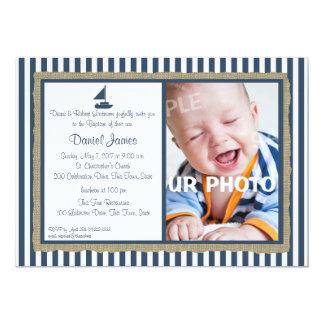 Nautical Stripe and Sailboat Baptism 13 Cm X 18 Cm Invitation Card