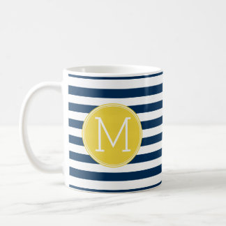 Navy and White Striped Pattern Yellow Monogram Basic White Mug