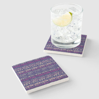 Navy Blue Abstract Aztec Tribal Pattern Stone Coaster