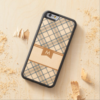 Navy Blue and Caramel Plaid Monogram iPhone Maple iPhone 6 Bumper