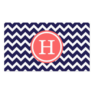 Navy Blue and Coral Modern Chevron Monogram Pack Of Standard Business Cards