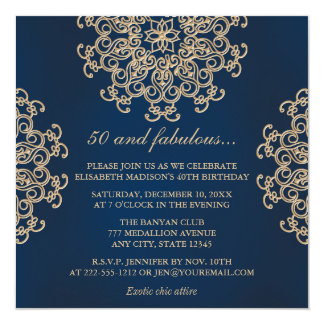Navy Blue and Gold Indian Style 50th Birthday 13 Cm X 13 Cm Square Invitation Card