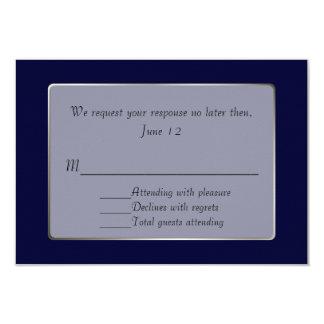 Navy Blue and Silver Tone RSVP Card 9 Cm X 13 Cm Invitation Card