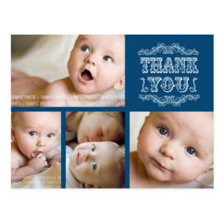Navy Blue Baby Boy Thank You Photo Post Card