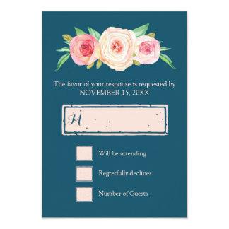 Navy Blue Blush Pink Vintage Floral Wedding RSVP 9 Cm X 13 Cm Invitation Card