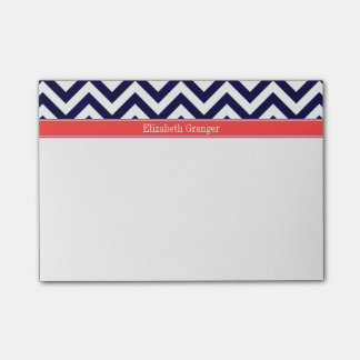 Navy Blue Lg Chevron Coral Red Name Monogram Post-it® Notes