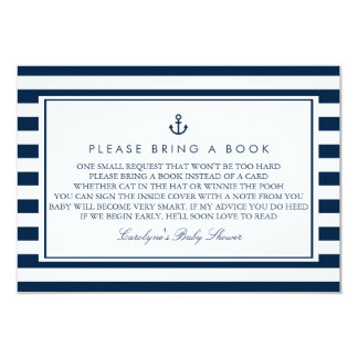 Navy Blue Nautical Baby Shower Please Bring a Book 9 Cm X 13 Cm Invitation Card