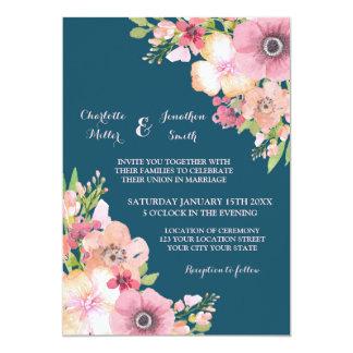 Navy Blue Rustic Pink Flowers Wedding Invitations