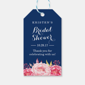 Navy Blue Stripes Floral Bridal Shower Thank You