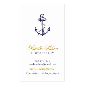 Navy Blue Vintage Anchor Vertical Pack Of Standard Business Cards