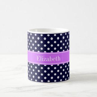 Navy Blue White Polka Dots Lilac Name Monogram Basic White Mug