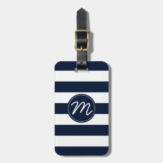 Navy Blue & White Stripe Personalized Tags For Luggage