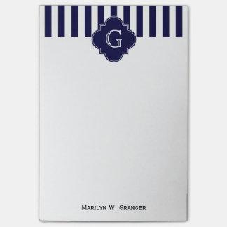 Navy Blue White Stripes, Navy Label Monogram Post-it® Notes