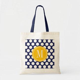 Navy & Yellow Green Big Polka Dots Monogrammed Budget Tote Bag