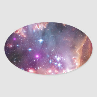 Nebula bright space stars galaxy hipster geek cool oval sticker