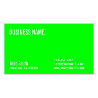 Neon Green Physical Scientist Business Card