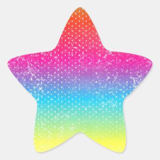 Neon grunge rainbow design star sticker