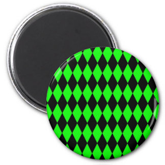 Neon Lime Green and Black Diamond Harlequin Patter 6 Cm Round Magnet