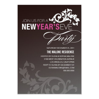 NEON PURPLE FLOURISH   NEW YEAR'S EVE INVITATION