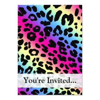 Neon Rainbow Leopard Pattern Print 13 Cm X 18 Cm Invitation Card