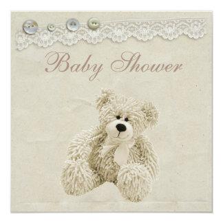 Neutral Teddy Bear Vintage Lace Baby Shower 13 Cm X 13 Cm Square Invitation Card